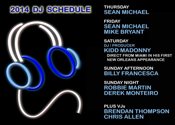 Southern Decadence 2014 DJ schedule