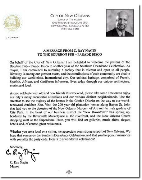 Mayor Nagin's letter to welcome everyone to Southern Decadence